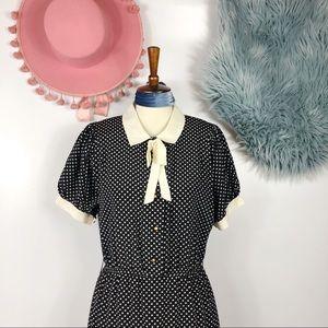 Vtg 80s Polka Dot Bow Ruffle Midi Dress M